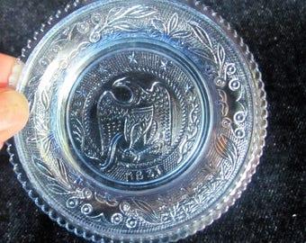Vintage Blue Westmoreland Cup Plate ~ 1831 Eagle Design
