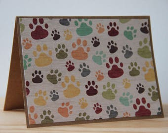 12 Paw Print Cards.  Pet Note Card Set.  Dog Note Card Set. Dog Thank You Cards. Pet Sympathy Cards. Blank Animal Print Cards.  Dog Card