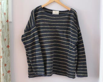 Express Tricot 90s Drop Shoulder Striped Cotton Sweater