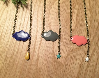 Navy and mustard yellow raindrop blue cloud necklace