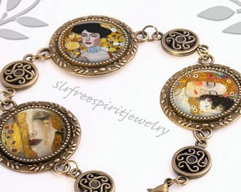 Gustav Klimt Bracelet, Fine Art Jewelry, Famous Paintings, Famous Artist, Photo glass jewelry, Gift for Artist,
