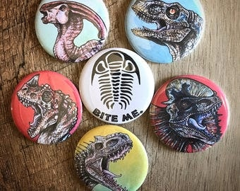 Jurassic Park / Dinosaur Sketch Card Assorted Pins and Magnets