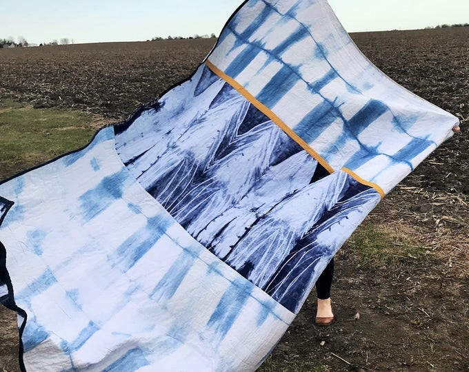 Hand Dyed Shibori Twin Size Quilt