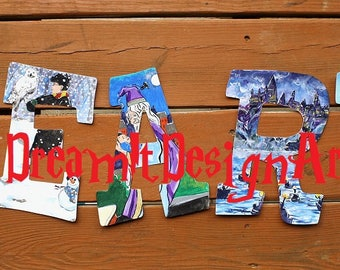 Harry Potter Alphabet LEARN Letters -- Set of 5 Wooden Letters