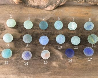 Genuine Sea Glass Marbles : Choose Between Transparent Blue Clear Marbles - Beach Glass Jewelry Supplies Pendant Cobalt Eco Friendly // LN2