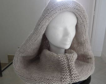 Cowl hood 100% baby alpaca, warm and wrapping