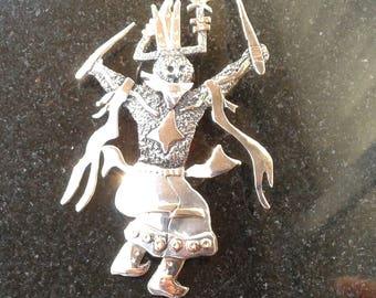 Sterling silver vintage 925 Kachina 3 in. brooch and pendant