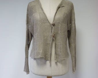Special price, taupe knitted cardigan, M size. Made of pure linen.
