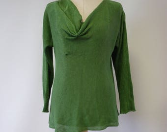 Special price. Grass green linen sweater, M size.