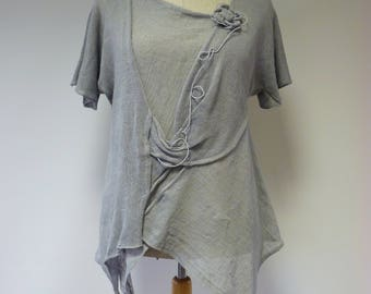 Special price. Handmade Summer light grey linen blouse, L size.