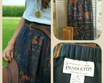 SALE Pendleton Midi Skirt Classic English Fox Hunt Pattern Traditional Fall Ivy League Clothing Horse and Hound Pendleton Woman size 10
