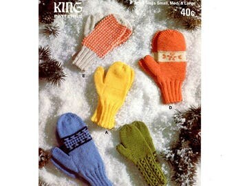 Vintage Family Mitts Knitting patterns in PDF instant download version , e-pattern