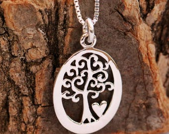 Sterling Silver Tree of Life Necklace, Tree of Life Pendant Necklace, Sterling Silver Tree of Life, Tree Necklace, Oval, Gift for Her