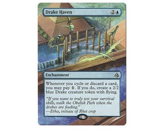 Hand Painted Altered MTG Drake Haven Extension
