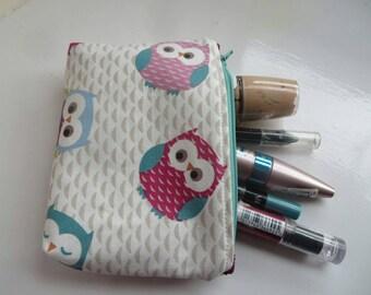 Make Up Purse, Pouch, Bag,Zipper pouch, owls