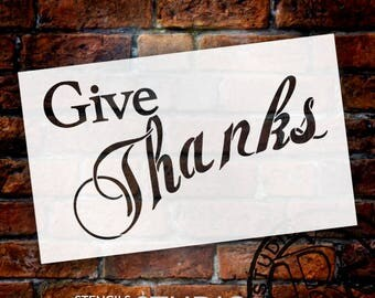 """Give Thanks Banner Stencil - 14"""" x 8 1/2"""" - STCL489 - by StudioR12"""