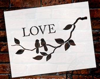 Love Birds - Art Stencil - Select Size - STCL1231 - by StudioR12