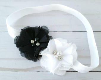 Black and White Petite Flower Headband - Newborn Headband - Infant Headband - Toddler Headband - Baby Girl Headband - Flower Girl Headband