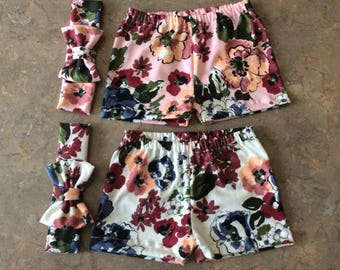 White or Pink Mulit Color Floral Print Baby Girls Summer Shorts and Bow Headband
