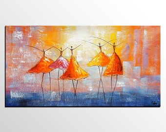 Abstract Painting, Ballet Dancer Painting, Canvas Artwork, Large Art, Original Painting, Abstract Art Painting, Modern Art, Bedroom Wall Art