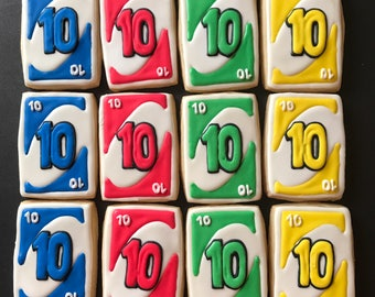12 card GAME vanilla sugar cookies - birthday gift - any number - casino night - first birthday