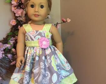 """Summer dress for the American Girl or 18"""" doll"""
