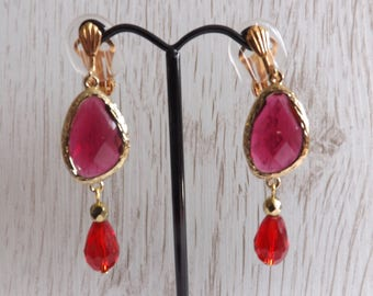 Clip-on drop earrings, clipon pink and red earrings, clip-on Boho earrings, festival earrings, unpierced earrings, non-pierced earrings,