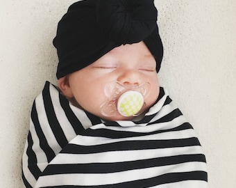 Baby Turban Hat in Black, Turban Bun Hat, Turban Top Kbot Hat, baby beanie, Baby Hat, Baby Turban