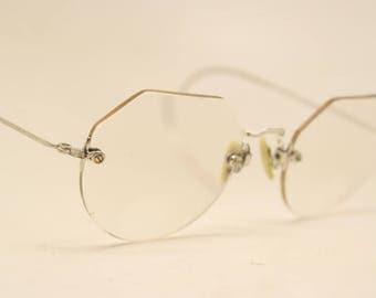 Antique Silver Tone Rimless Vintage Eyeglasses