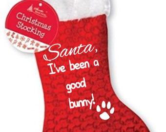 Santa, I've been a good bunny pet rabbbit christmas xmas stocking santa presents with paw print design footprint