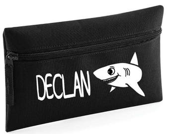 Personalised kids shark  pencil case (your name)  back to school