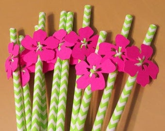tropical flower straws, 10CT, luau party decorations, hot pink hibiscus, lime green chevron, island wedding, pool party, tiki bar, summer