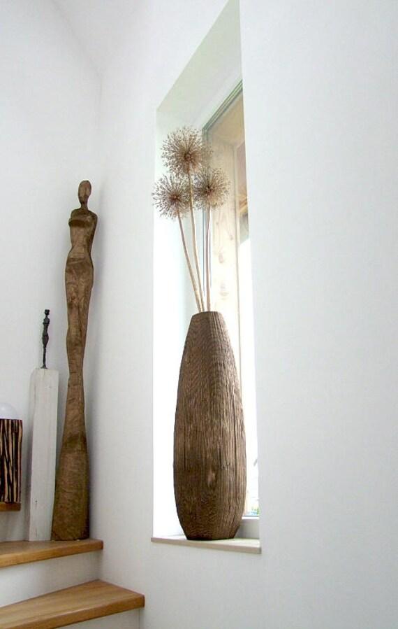 hnliche artikel wie xxl bodenvase dekovase holzvase pflanzvase auf etsy. Black Bedroom Furniture Sets. Home Design Ideas