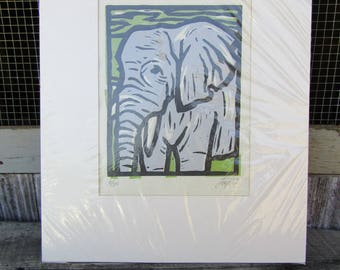 Nice elephant print signed dated numbered