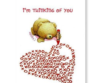 Cute Teddy Bear Xoxo Heart Valentine's Day Card Set - 18 Cards & Envelopes - 16076