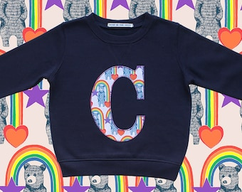 KIDS INITIAL SWEATSHIRT - Rainbow Bears orange