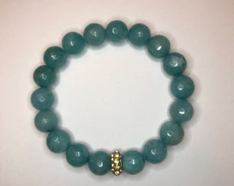 Blue Faceted Beaded Stretch Bracelet Closeout Sale