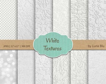 "SALE 50%OFF White Textures Digital Papers: ""White Wedding Digital Paper"" featuring bokeh, damask, linen, textured digital paper"