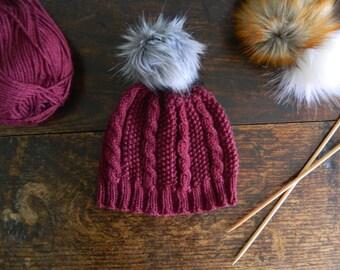 Moss Stitch & Cable Knit Hat Knitting Pattern - Seed Stitch and Cable Pompom Hat Knitting Pattern