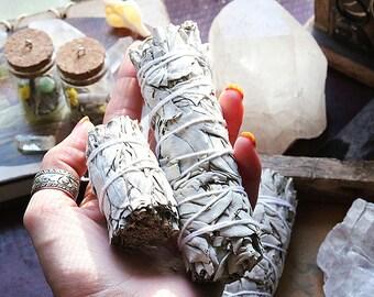 1 x Sage Cleansing Bundle, White Sacred Sage Smudge Stick, healing wand, house warming gift