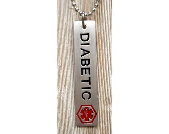 Diabetic Pendent w/ 24 inch 2.7mm ball chain  :  Engraved & Polished Pendent (not hand stamped)