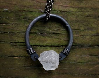 Rough Quartz & Black Copper Hoop Necklace // Rough Stone Circle Necklace // Rustic Copper Hoop Gemstone Necklace  // Gifts For Her
