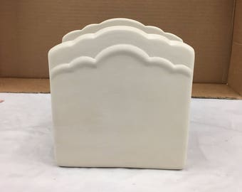 Ceramic Bisque Napkin Holder Ready to Paint