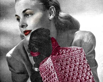 Pattern For Crochet Handbag Vintage 1940's Crochet Pattern - Loveletter Bag - PDF Download