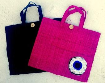 beach bag/ handmade/pom pom/eye/raffia bags / straw bag