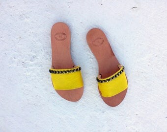 greek leather/leather sandals/aelia /open toe leather slide shoes/yellow/boho chic/genuine leather/flipflop/sandals