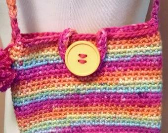 Crochet little girl shoulder bag, toddler's purse, gift for birthday,  Easter pocketbook, colorful bag with pom pom, big button closure