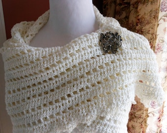 crochet cotton white shawl, spring and summer accessory, bride or mother of the bride triangle wrap, shoulder drape neck wrap, gifts for her