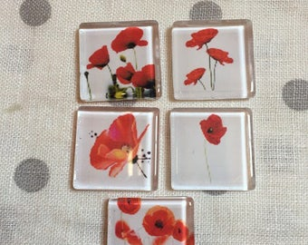 5 30mm glass poppy square cabochons