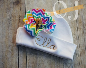 Personalized Name Newborn Hat - Infant Hospital Hat - embroidered - Newborn Hat - Newborn Hat with Bow - Girl - Rainbow and Gold